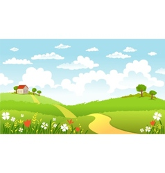 Green Landscape and the road vector image