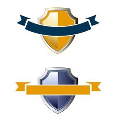 Shield ribbon icons vector