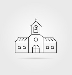 thin line black church with shadow vector image vector image