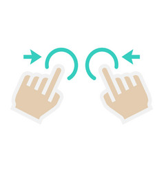 Two hand zoom out flat icon touch and gesture vector
