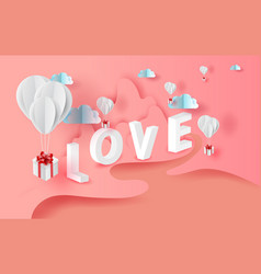 3d paper art of white balloons gift floating with vector image