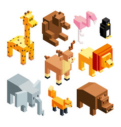 3d toy animals isometric pictures isolate vector
