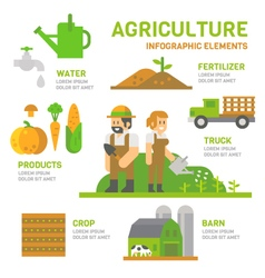Agriculture farm flat design infographic vector