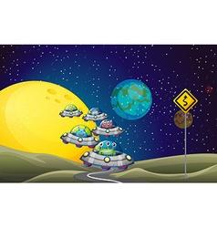 Aliens flying ufo in space vector