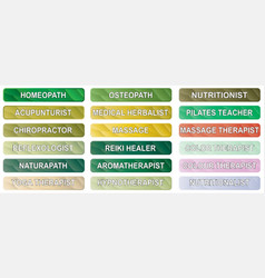 Alternative therapy buttons vector