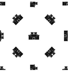 Ancient fortress pattern seamless black vector