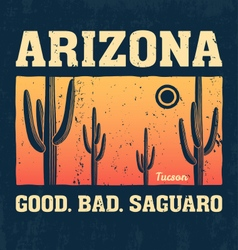 Arizona t shirt with saguaro cactus vector