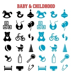 Baby and childish flat icons set vector image