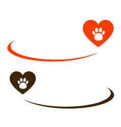 Background with heart and paw vector