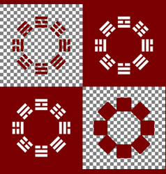 Bagua sign bordo and white icons and line vector