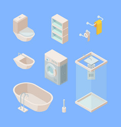 bathroom isometric set controlled shower washing vector image