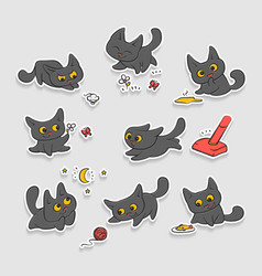 Black kittens stickers small cat different vector