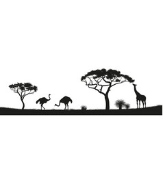 Black silhouette of ostrich giraffe in savannah vector