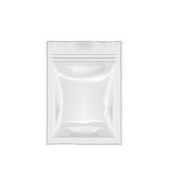 Blank filled foil pouch bag packaging with zipper vector