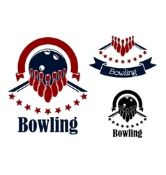 Bowling badges with lanes balls and ninepins vector