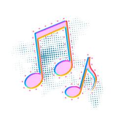 bright colorful music note icon sound media vector image
