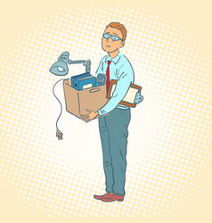 Businessman with box moving office vector