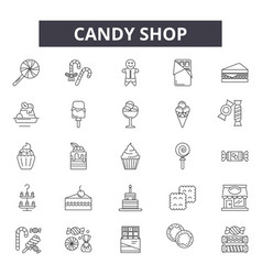 candy shop line icons signs set outline vector image