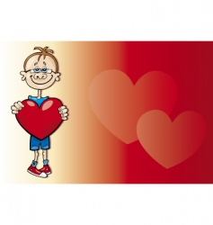 cartoon boy in love vector image