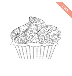 cartoon hand drawn cupcake vector image