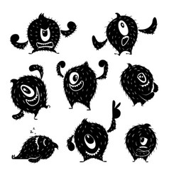 character of funny monster in different action vector image