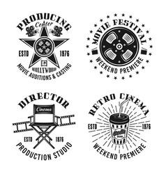 Cinema set four monochrome retro emblems vector