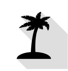 coconut palm tree sign black icon with flat style vector image