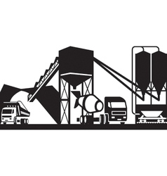 Concrete plant with trucks vector