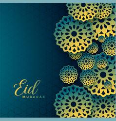 Decorative eid mubarak islamic festival wishes vector