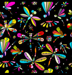 Dragonflies seamless pattern for your design vector