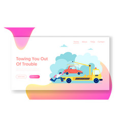 evacuation service website landing page tow truck vector image