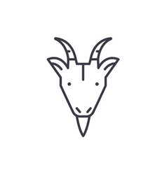 farm goat head line icon sign vector image