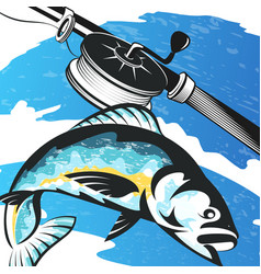 Fishing rod and fish on the waves vector