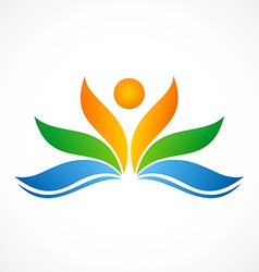 flower people ecology spa logo vector image