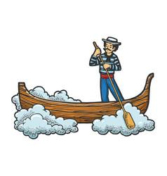 flying gondola boat sketch engraving vector image