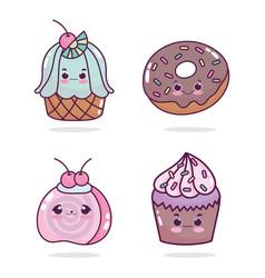 food cute dessert cupcakes fruit donut cartoon vector image