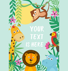 Frame with tropical animals vector