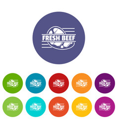fresh beef icons set color vector image