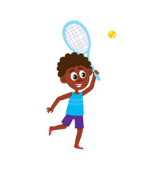 funny black african american boy playing badminton vector image vector image