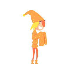 funny jester in an orange medieval costume vector image
