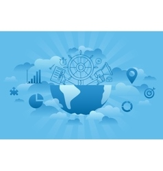 Global Management blue vector image