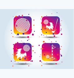 golf ball icons fireball with club symbol vector image