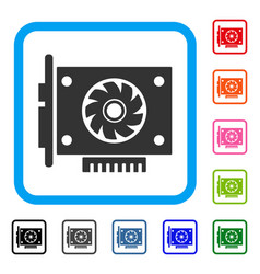 Gpu card framed icon vector