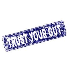 Grunge trust your gut framed rounded rectangle vector