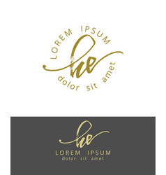 H e handdrawn brush monogram calligraphy logo vector