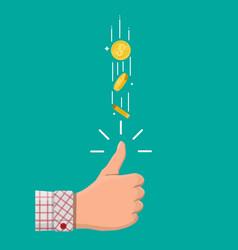 Hand businessman tossing golden dollar coin vector