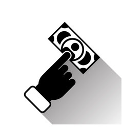 hand holding banknote silhouette black icon vector image