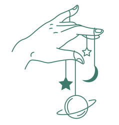 hand holding planets and stars on threads magic vector image