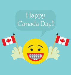 happy canada day smiley face icon with big smile vector image