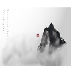 High mountain peak in fog traditional oriental vector